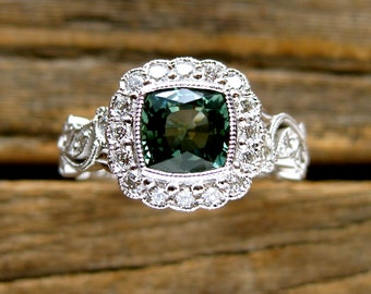 Teal Blue Green Sapphire Engagement Ring in 18K White Gold with Diamonds in Flower Blossoms & Leafs Size 6