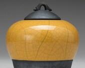 Ceramic jar,Raku  Pottery,Lidded Jar,yellow gold and Black clay jar with lid,Raku Jar, art pottery,covered jar