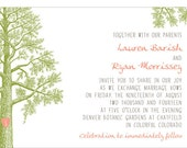 Trees with Thumbprint Carved Heart Invitation - Collection options available