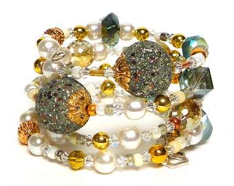 SILENT WHITE coil Beaded Bracelet by Beading Divas Fundraiser