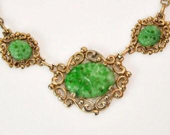 1960s Lustern Green Hardstone Jadeite Asian Inspired Gold Link Vintage Necklace Choker