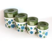 Vintage Mod Canister Set Tin Flower Power