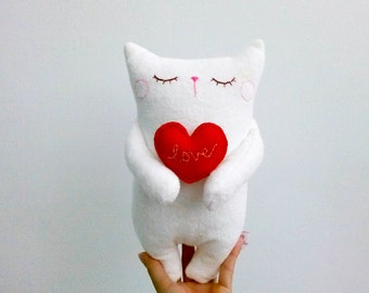 Stuffed Cat, Stuffed animal, Cat with heart, Cat plush, Doll Cat, White cat, Softie, Kids room decor - Cat lover gifts