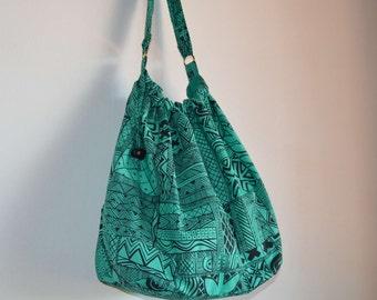 Drawstring bag bucket bag beach tote silk screened emerald green African print lined handmade