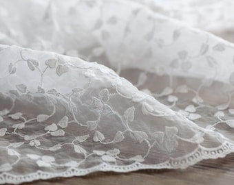 Chic White Embroidery Lace Heart Leaf Leaves Floral Branches, Scalloped Waved Edges - Japanese Lace Cotton Fabric (1/2 Yard)
