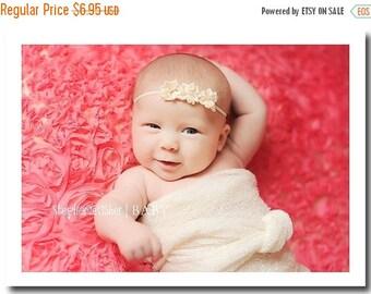 Baby Headband - Newborn Headband - Infant Headband - Toddler Headband - Triple Ivory Flower on Thin Stretch Headband - Photography Prop