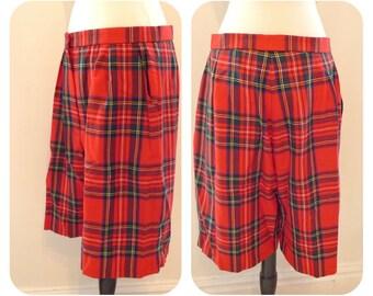 Plaid Wool Bermuda Shorts Pants 70s 80s Peddle PushersTartan Red Winter Bottoms Pockets High Waist Pleats Wide Leg Hunting Preppy Betty Sue