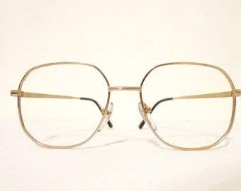 HUGE NOS Metal Aviator Goldtone Mod ROUnd SquAre Aviator Eyeglasses Larger Glasses Metal Sunglasses Never Used Boho Festival Panto Designer