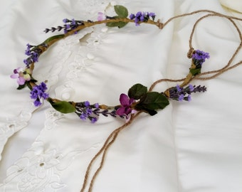Bridal Lavender Flower Crown by Michele at AmoreBride Rustic Chic Woodland Wedding headpiece hairwreath flower girl circlet accessories halo
