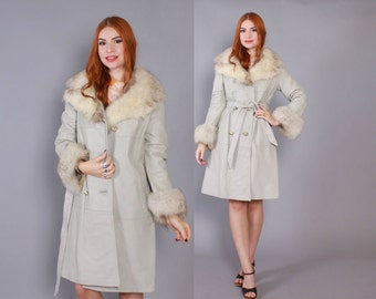 60s LEATHER JACKET / Vintage 1960s FOX Fur Belted Gray Coat with Fluffy Collar & Cuffs S