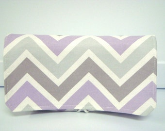 40% Off Coupon Organizer /Budget Organizer Holder-Attaches to Your Shopping Cart - Lavender and Gray Chevron Zig Zag Decor  Fabric