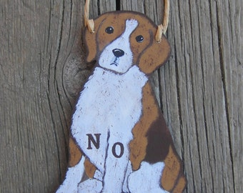 BEAGLE Custom Dog Sign - Original Hand Painted Wood - Welcome - No Soliciting - Remove Shoes