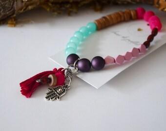 Bracelet Pink Fatima fushia yoga gitan zen bohème