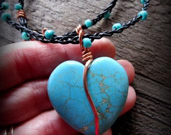 Turquoise Heart Wrapped in Copper on Braided Greek Leather with Bead Accents - Valentines Day - Gifts for her