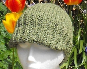 HALF PRICE SALE Instant Digital File pdf download knitting pattern for sale - Superfast Beanie Cap Peak Hat pdf download knitting pattern