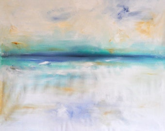 """Original Abstract Painting Seascape LARGE 40x30"""" White Turquoise Blue UNSTRETCHED Rolled in a tube"""