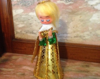 Vintage GOLD ANGEL Christmas Decoration Japan - Plastic Face, Foil, Paper, Trim, Cardboard 1960s