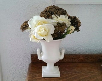 Lovely Ivory Vintage Vase . White Urn . Enesco Japan . White Handled Vase