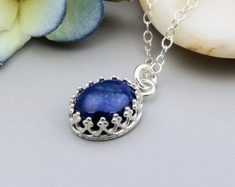 Lapis Lazuli Necklace,  September birthstone necklace, semi precious gemstone, jewelry birthstone, sterling silver