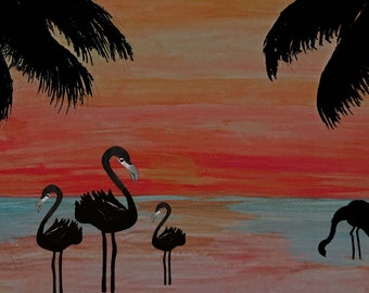 Evening flamingo beach walk art canvas wrap.