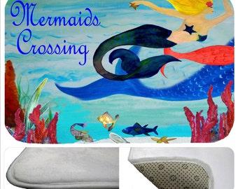 Mermaids Crossing bathmat from my art