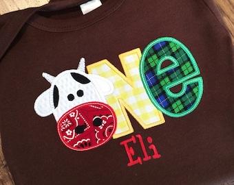 Boys ONE shirt, Farm Birthday Shirt, Barnyard Birthday Ideas, Boys Barn Shirt, Boys Barn and Friends Birthday, Boys Farm Birthday,Boys Cow