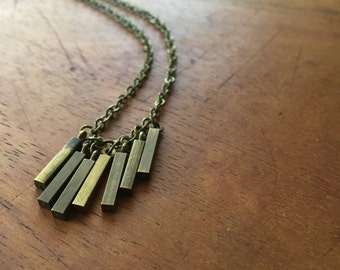 INDRA Necklace - vintage brass bars