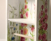 Farmhouse Hand Painted White Towel Bar Shelf with Garden Flowers