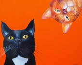 134 Two Cats - folded art card 15x15cm/6x6inch with envelope