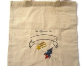 Personalized hand embroidered tote bag for children embroidery space ship falling star