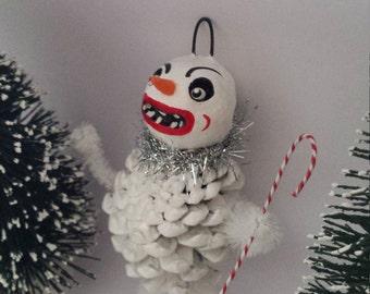 Vintage Style Folk Art Pinecone Snowman Christmas Ornament OOAK