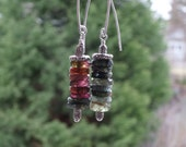 Amazing Pink, Green and Blue Tourmaline Dangle Earrings