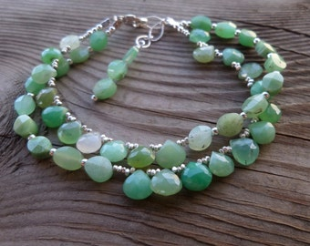 Fantastic Chrysoprase Gemstone and Sterling and Fine Silver Double Strand Bracelet