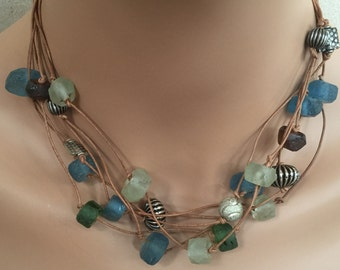 Recycled glass and metal necklace