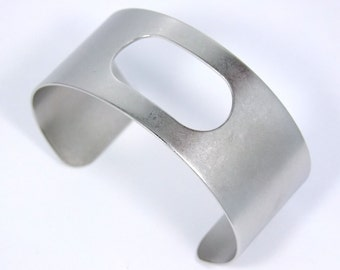 Antique Silver Cuff 1 1/8 Inch Wide Oblong Cutout Ready For Crafting Or Wear  SALE While Supplies Last