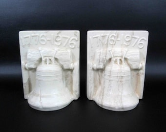 Vintage White Marble 1776 Liberty Bell Bookends. Circa 1970's.