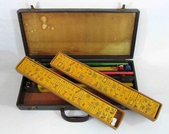 Vintage Bakelite Mahjong Set in Faux Alligator Case. Circa 1930's - 1940's.