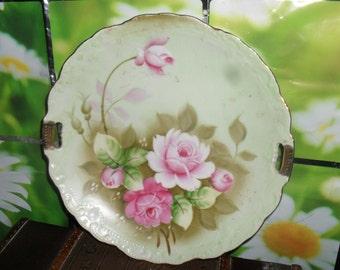 Vintage Lefton Porcelain - Cake  Plate - Light Green w/h Pink and Red Roses