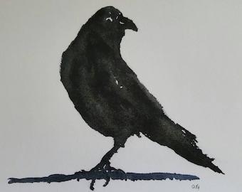 Impressionist Gothic Black Crow Bird Print from Rustysecrets