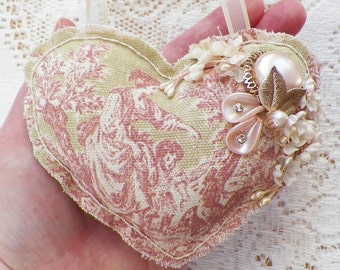 Handmade / Hand Sewn Pink, Green, Cream Toile Heart Ornament Embellished with Vintage Millinery Flowers / Vintage Jewelry Piece, Home Decor