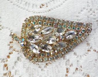 Very Sparkly Vintage Rhinestone Leaf Brooch / Pin / Broach, Clear, AB / Aurora Borealis Rhinestones, Bride / Bridal, Evening, Estate