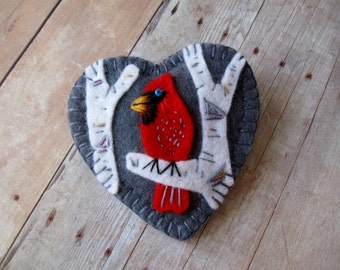 Cardinal in Birch Brooch - Ready to Ship Embroidered Felt Jewelry
