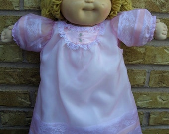 "16"" Cabbage Patch Doll Clothes, Dresses, Pink, Teal, Satin, Lace, 1980's"