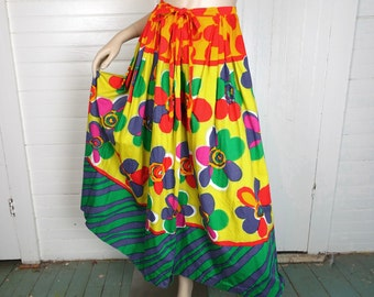 40s / 50s Floral Skirt in Bright & Bold Colors- 1950s Cotton Maxi Skirt- Vacation