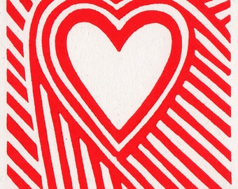 With Love. Linocut Greeting Card.