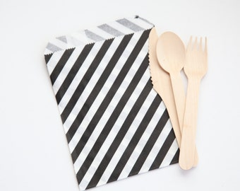"25 BLACK Striped Bags, 5-1/8"" x 6-3/8"", Striped Gift Bags, Perfect for Handmade Wedding // Birthday // Holiday // Craft Party Favor Bags"