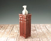 Ceramic Pottery Soap Dispenser - Red Liquid Soap Pump - Lotion Pump - Seconds Sale - Arts and Crafts Mission Style - 770