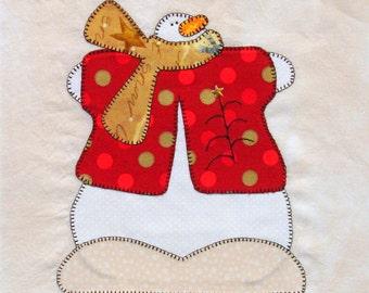 Primitive Snowman Appliqued Quilt Block