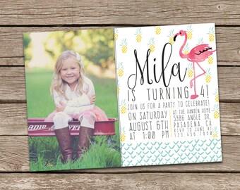 Flamingo Birthday Invitation : Printable Custom Flamingo Summer Pineapple Invite