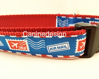 Dog Collar, Airmail, Postage,1 inch wide, adjustable, quick release, metal buckle, chain, martingale, hybrid, nylon